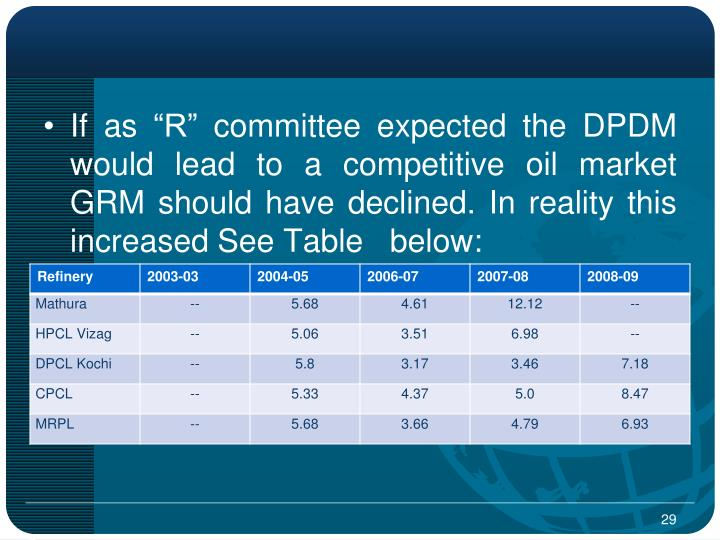 """If as """"R"""" committee expected the DPDM would lead to a competitive oil market GRM should have declined. In reality this increased See Table   below:"""