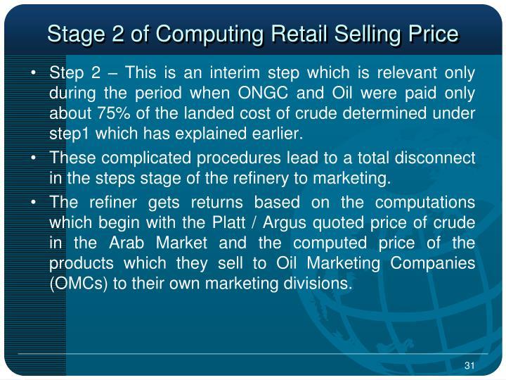 Stage 2 of Computing Retail Selling Price