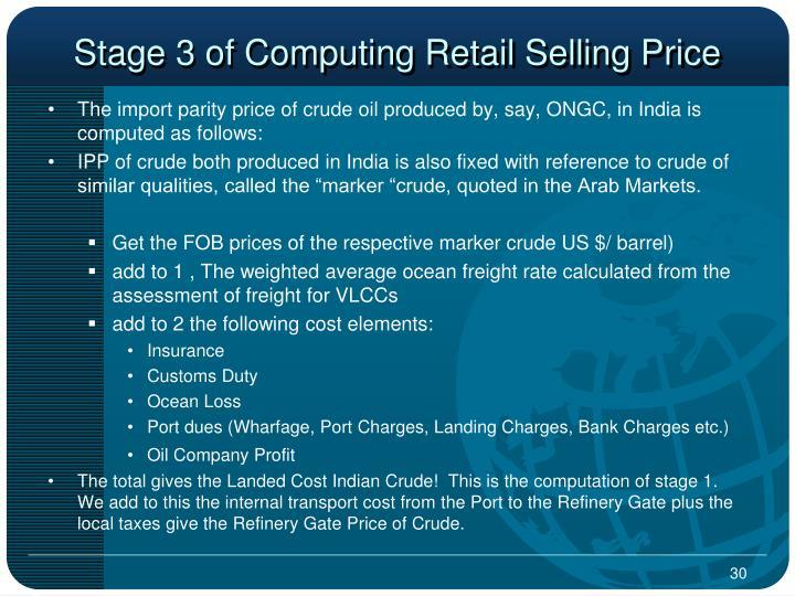 Stage 3 of Computing Retail Selling Price