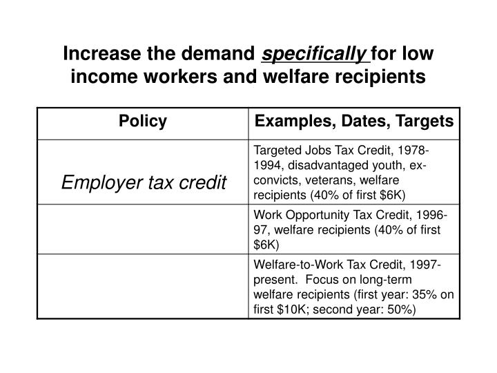 Increase the demand specifically for low income workers and welfare recipients