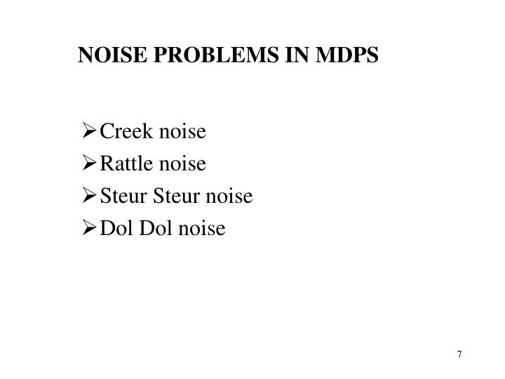 NOISE PROBLEMS IN MDPS