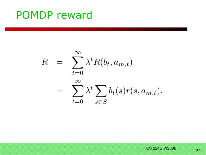 POMDP reward