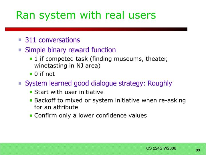 Ran system with real users