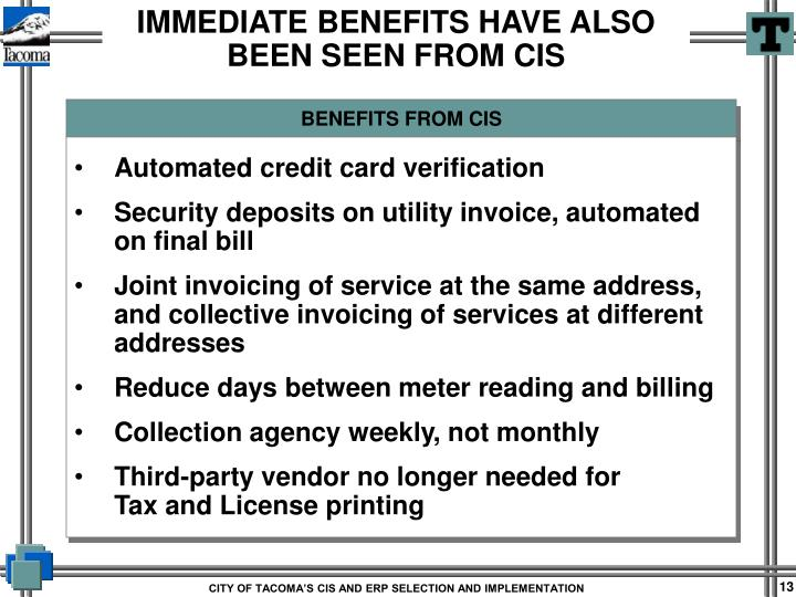 BENEFITS FROM CIS