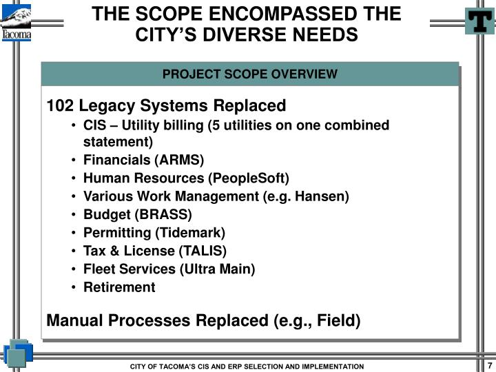 PROJECT SCOPE OVERVIEW