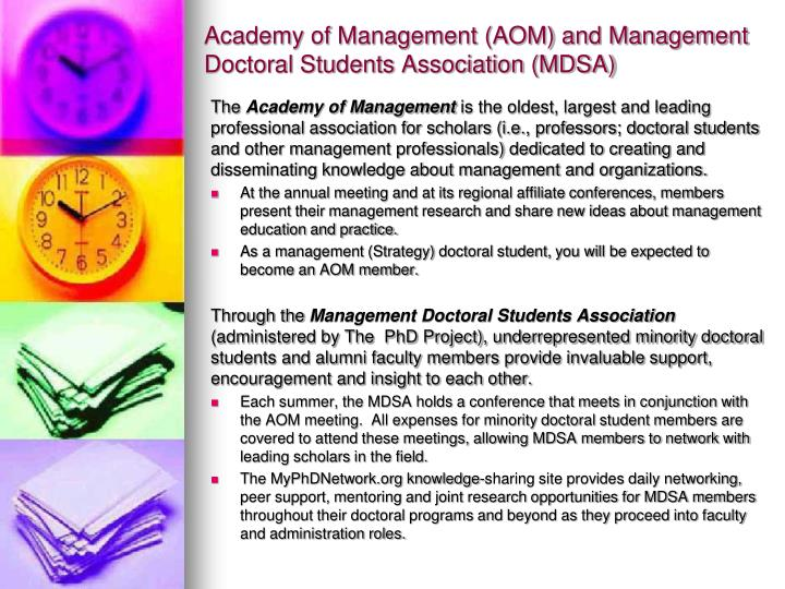 Academy of Management (AOM) and Management Doctoral Students Association (MDSA)