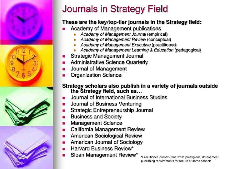 Journals in Strategy Field