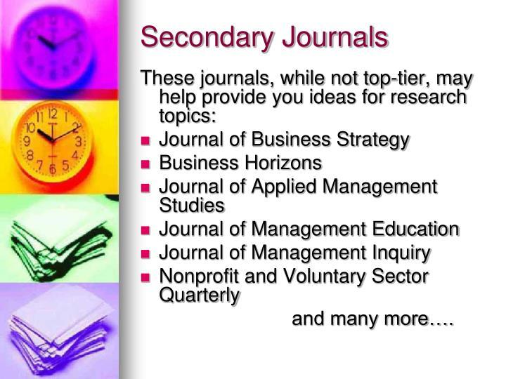 Secondary Journals