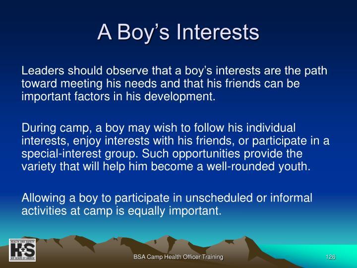 A Boy's Interests