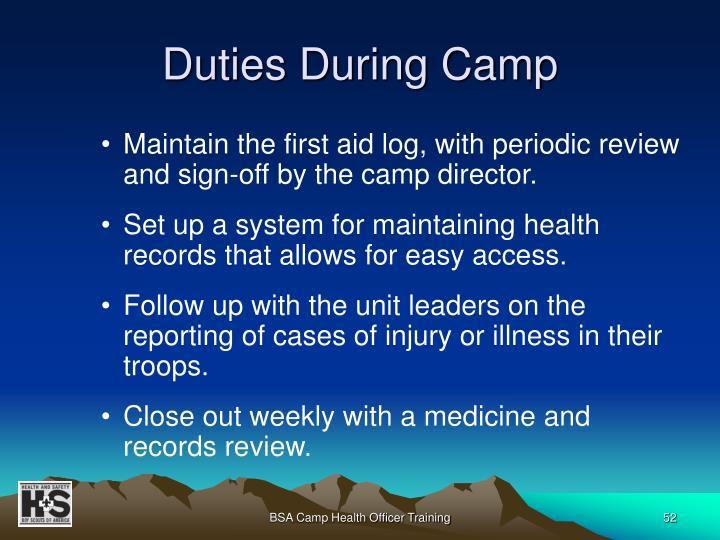 Duties During Camp