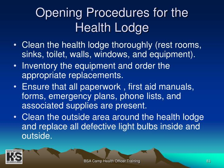 Opening Procedures for the
