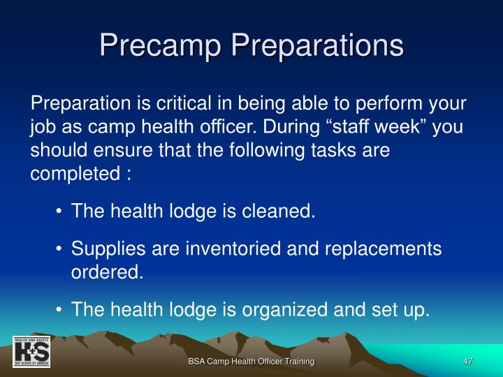 Precamp Preparations