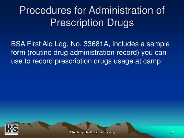 Procedures for Administration of Prescription Drugs