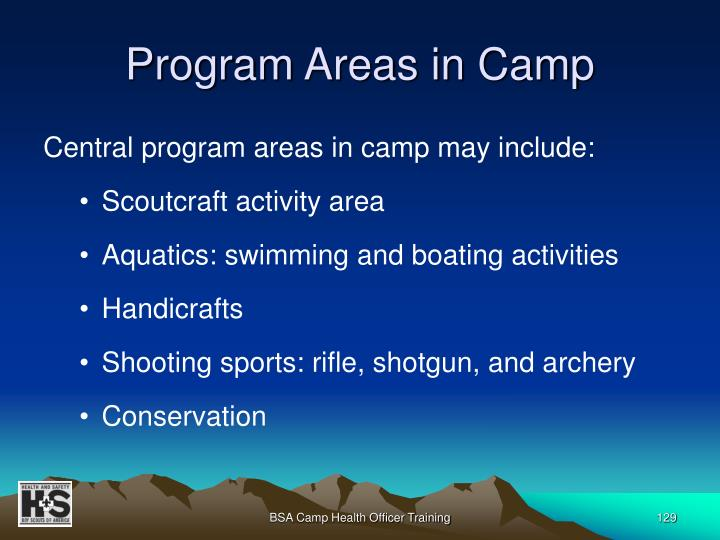 Program Areas in Camp