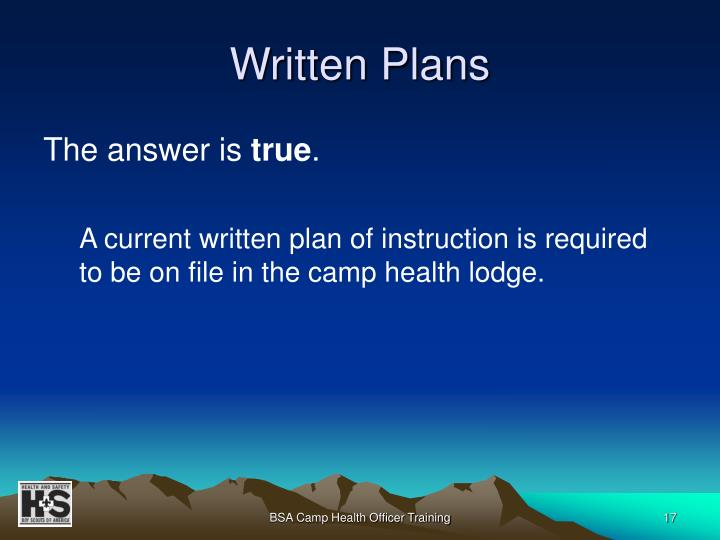 Written Plans