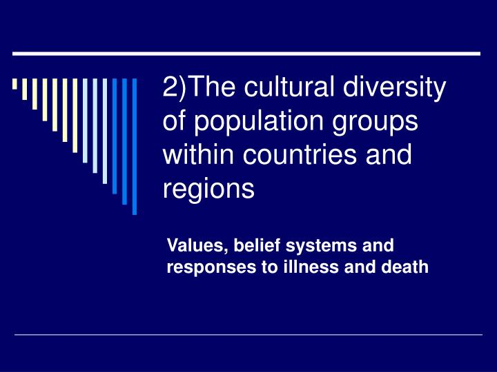 2)The cultural diversity of population groups within countries and regions