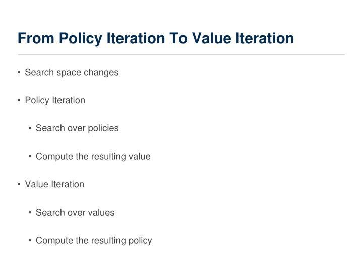 From Policy Iteration To Value Iteration