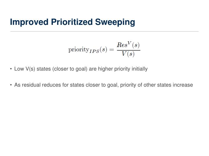 Improved Prioritized Sweeping