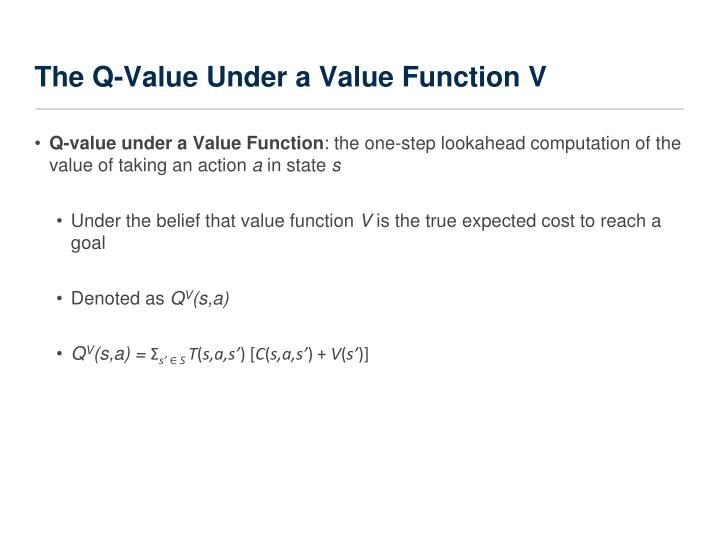The Q-Value Under a Value Function V