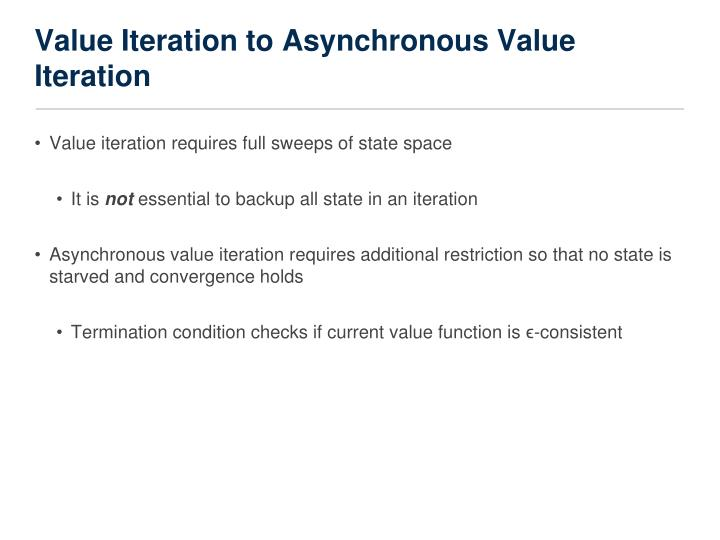 Value Iteration to Asynchronous Value Iteration