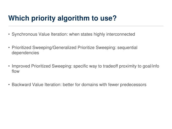 Which priority algorithm to use?
