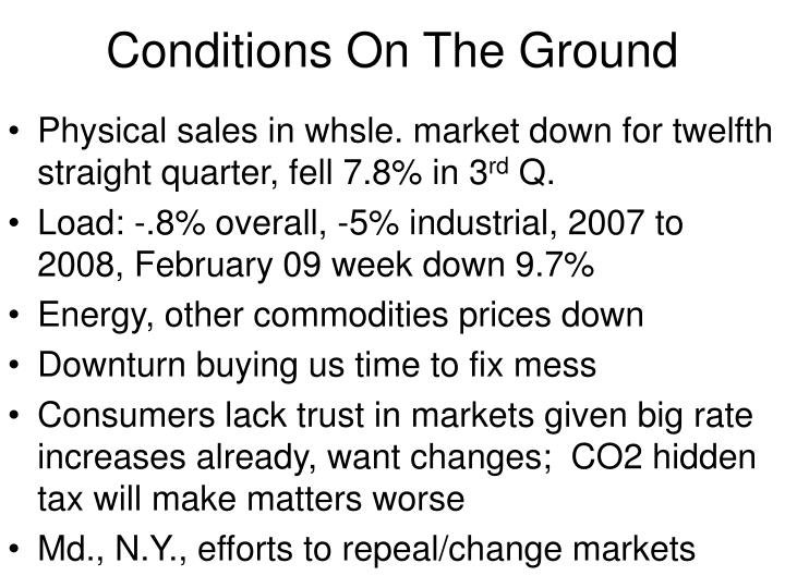Conditions On The Ground