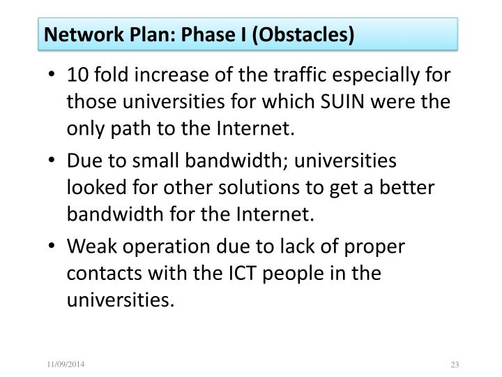 Network Plan: Phase I (Obstacles)