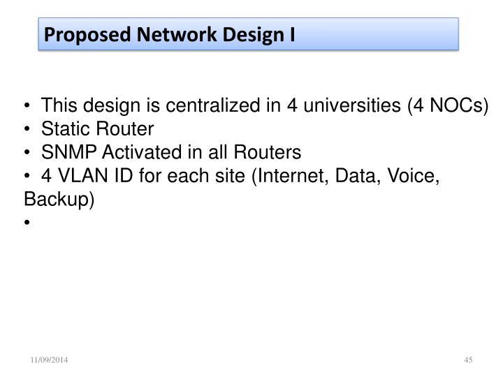 Proposed Network Design I