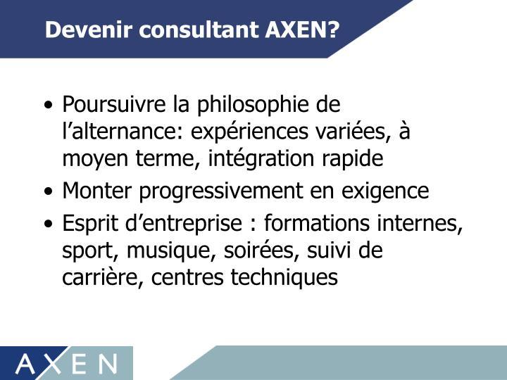 Devenir consultant AXEN?