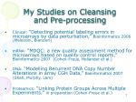 my studies on cleansing and pre processing