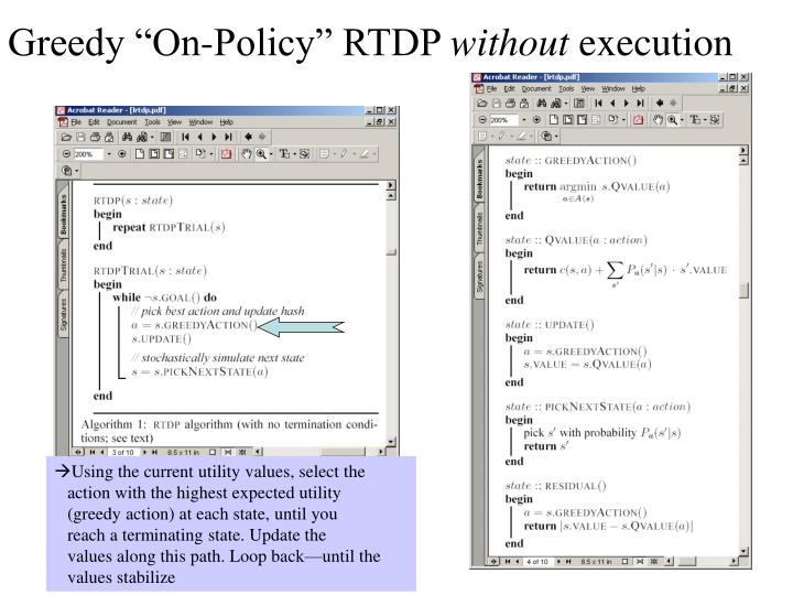 "Greedy ""On-Policy"" RTDP"