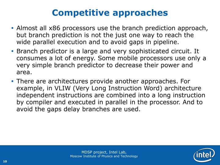 Competitive approaches