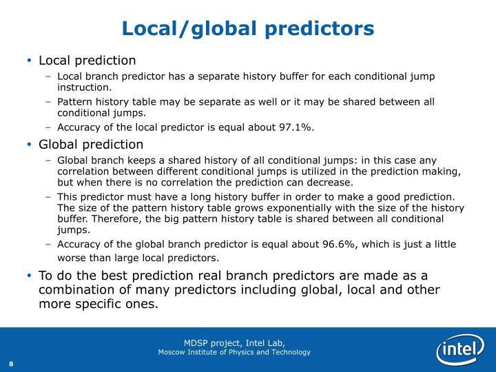 Local/global predictors
