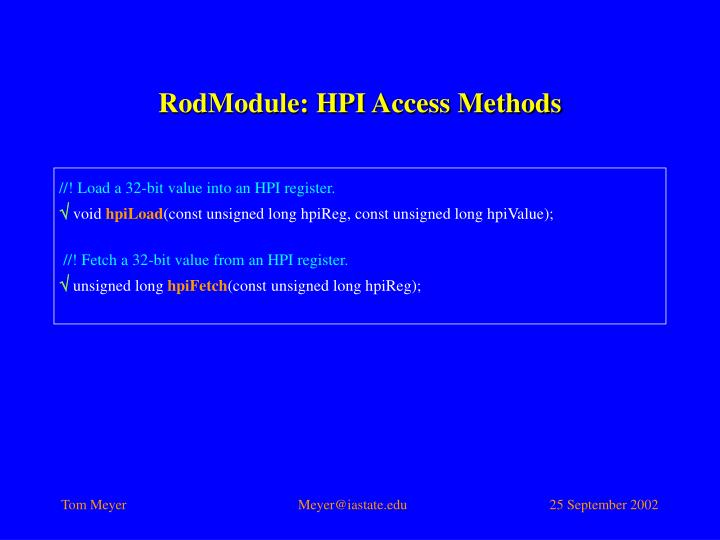 RodModule: HPI Access Methods