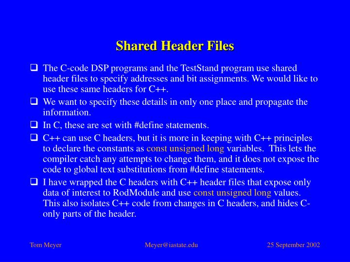 Shared Header Files