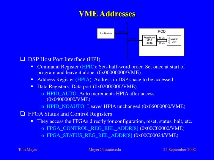 VME Addresses