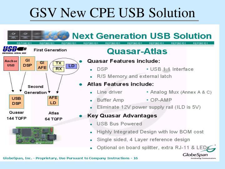 GSV New CPE USB Solution