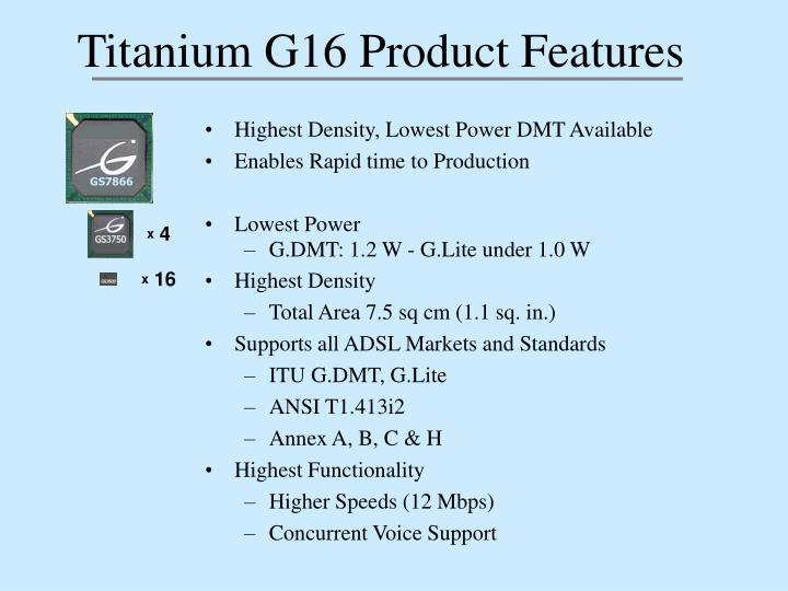 Titanium G16 Product Features