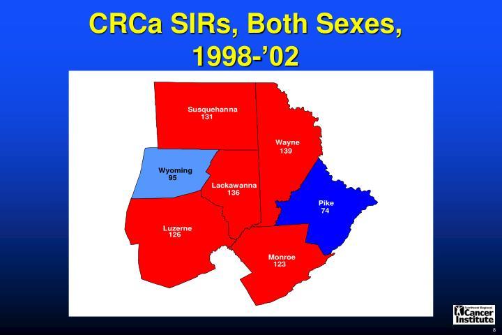 CRCa SIRs, Both Sexes,
