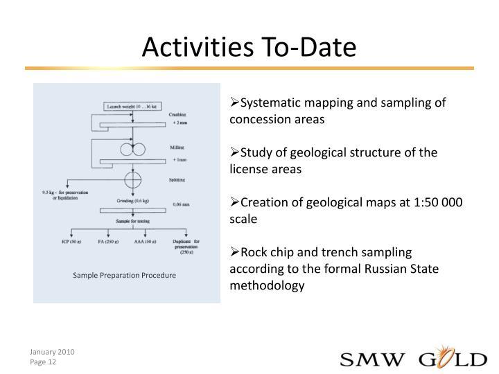 Activities To-Date