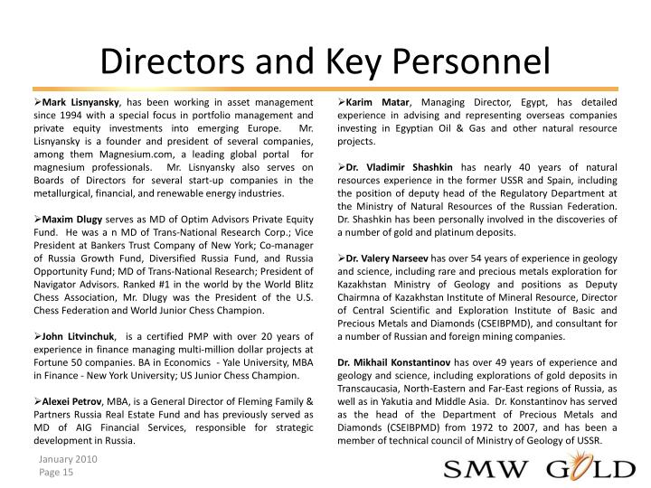 Directors and Key Personnel