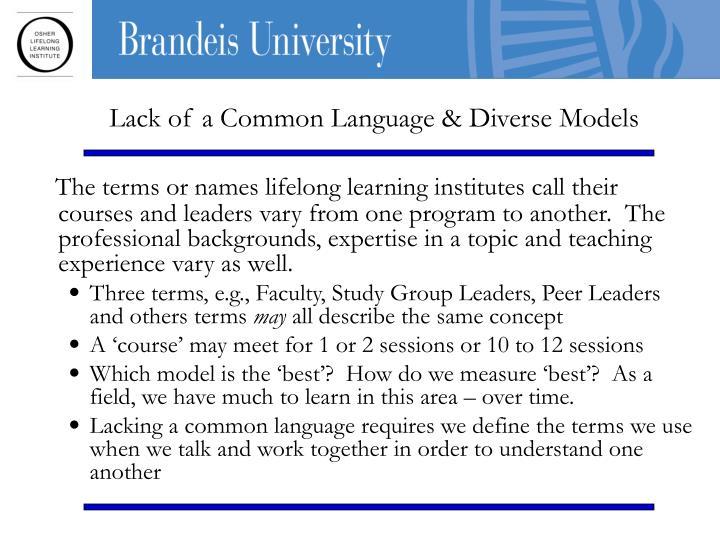 Lack of a Common Language & Diverse Models