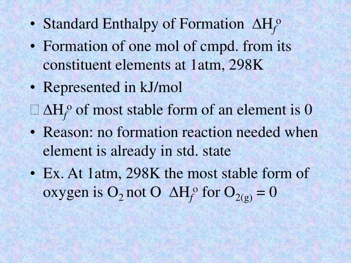 Standard Enthalpy of Formation