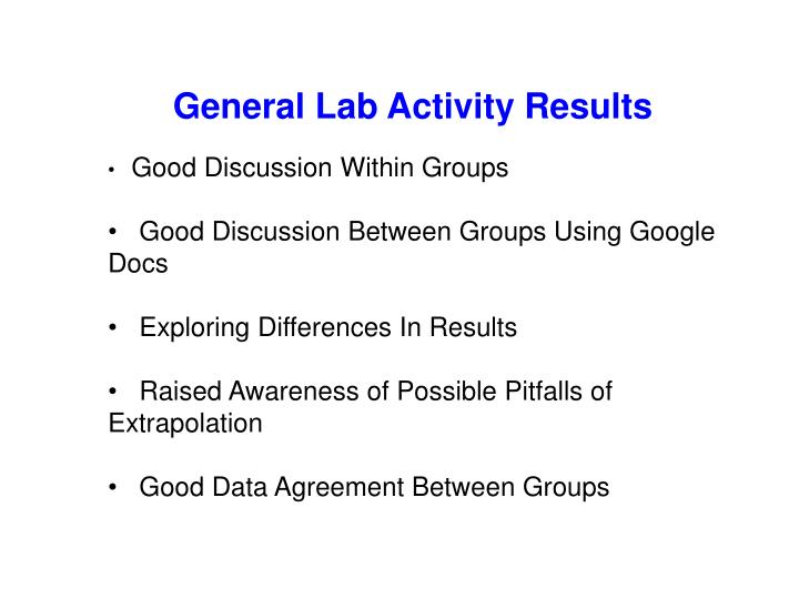 General Lab Activity Results