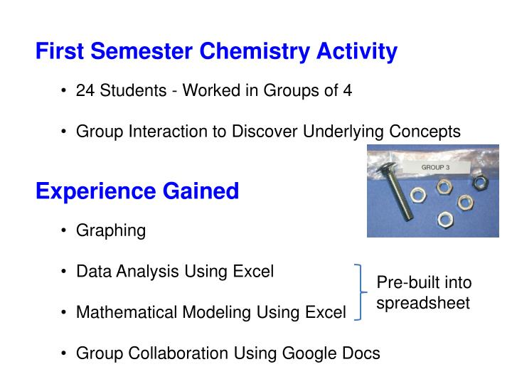 First Semester Chemistry Activity