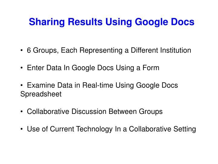 Sharing Results Using Google Docs