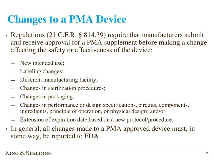Changes to a PMA Device