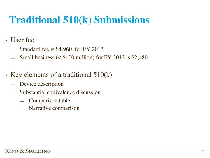 Traditional 510(k) Submissions