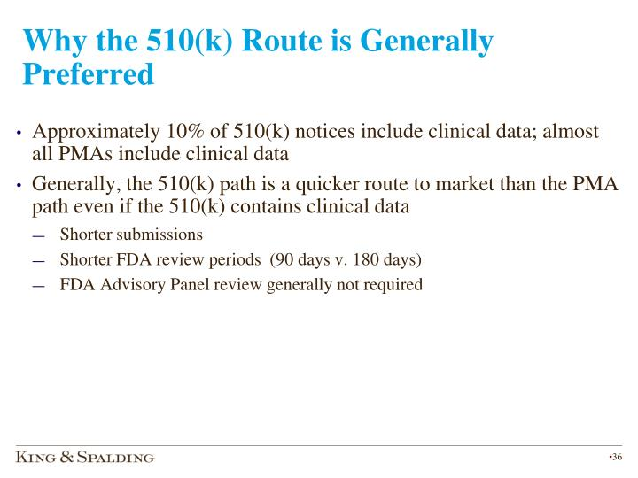 Why the 510(k) Route is Generally Preferred