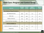 child care program and control group